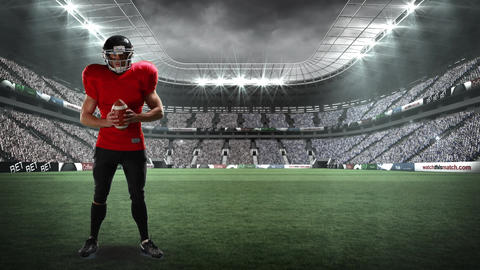 American football athlete playing with football Animation