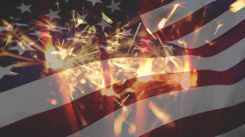 Sparklers with an American flag Animation