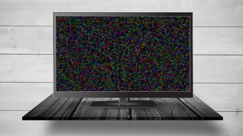 Flat screen TV with a blank screen and pixel noise Animation