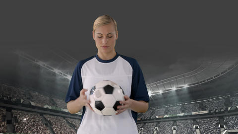 Female football player playing with ball Animation