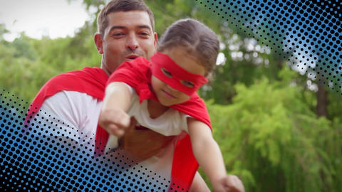 Father carrying his daughter while wearing superhero costumes Animation