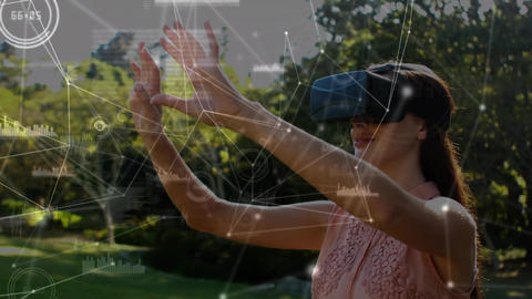 Woman wearing a virtual reality headset outdoors Animation