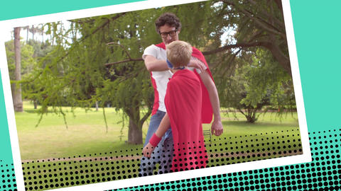 Father and his son playing superheroes at the park Animation