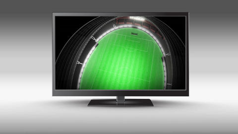Television with a stadium on its screen Animation