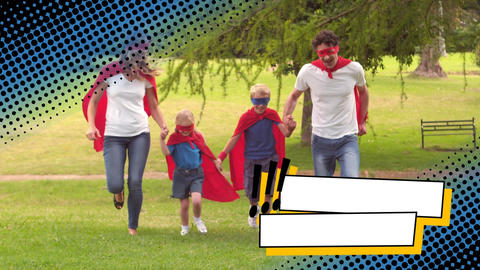 Family running in the park wearing superhero costumes Animation