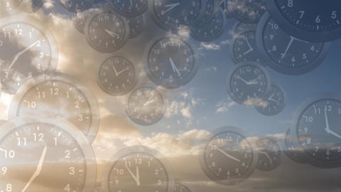 Bright cloudy sky filled with falling clocks Animation