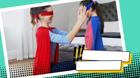 Mother fixing her daughters superhero costume Animation