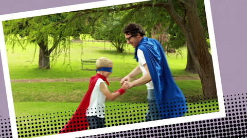 Father and son playing superhero at a park Animation