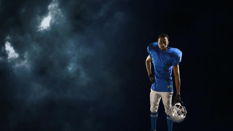 American football player on a stormy sky Animation