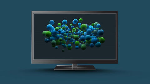 Television with green and blue circles Animation