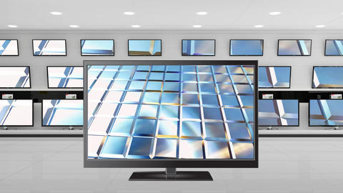 Flat screen television on display Animation