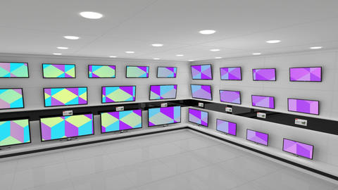 Flat screen televisions with colourful screens Animation