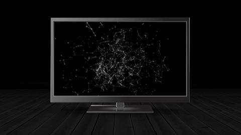Flat screen television with connected dots and lines Animation