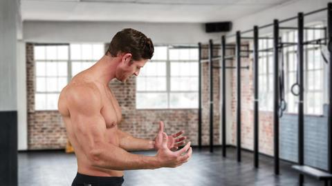Bodybuilder flexing muscles 4k Animation