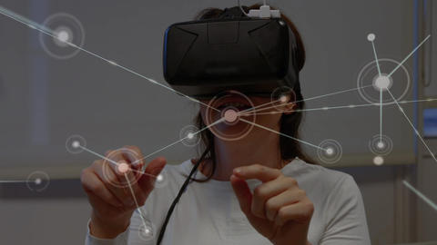 Woman wearing a virtual reality headset swiping her fingers Animation