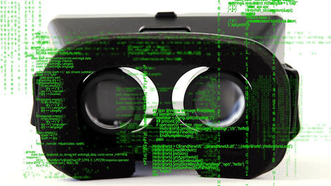 Virtual reality headset with interface codes Animation