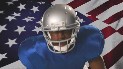 African-american football player representing America Animation