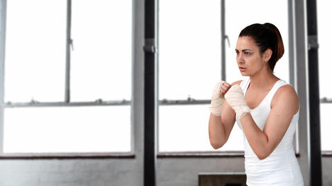 Female boxer shadow boxing 4k Animation