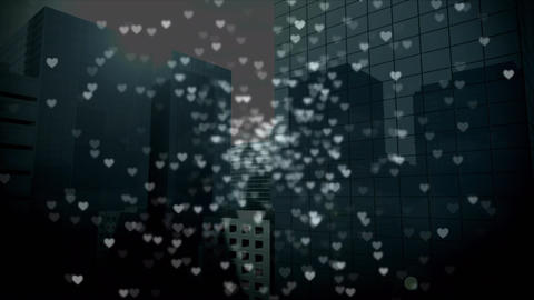 Tall buildings with digital hearts, Stock Animation