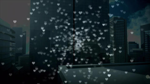Tall buildings with digital hearts Animation