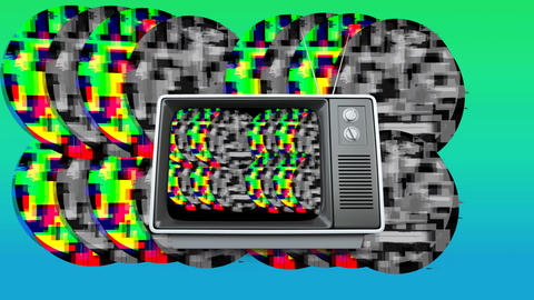 Old television and colorful static Animation