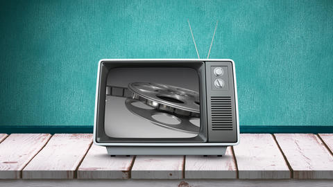 Television with film roll Animation