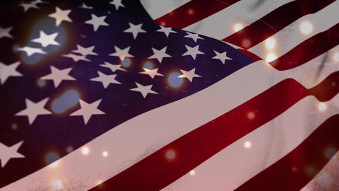 Bright glowing lights with an American flag Animation