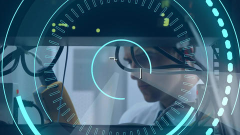 Technician and 5G written in the middle of a futuristic circles 4k Animation