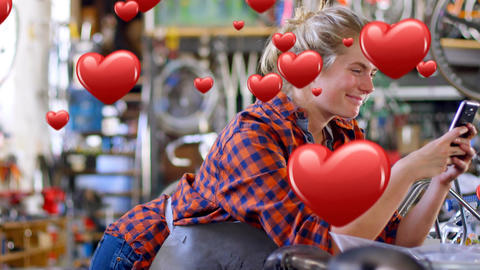 Bicycle mechanic texting in love 4k Animation