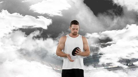 Disc throwing athlete preparing to throw Animation