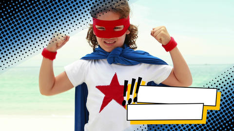 Little boy wearing a superhero costume at the beach Animation