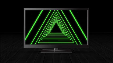 Television with a triangle tunnel Animation