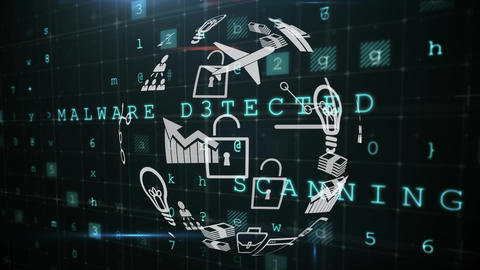 Application icons and cyber security Animation