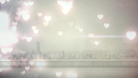 Wide city view with hearts Animation