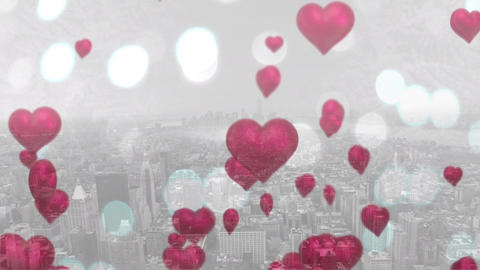 Floating heart balloons on a city Animation
