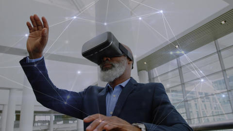 Old man wearing a virtual reality headset while waving his fingers Animation