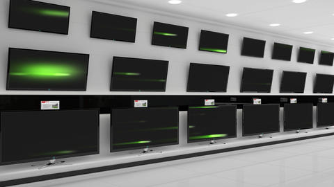 Flat screen TVs with green beams of light on their screens Animation