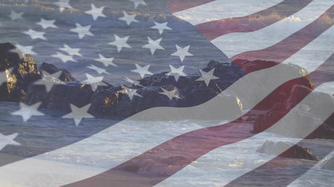 Rocky shores with an American flag Animation