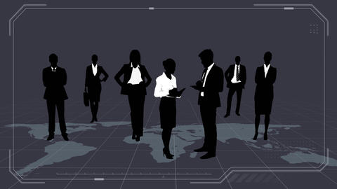 Silhouette of business people Animation