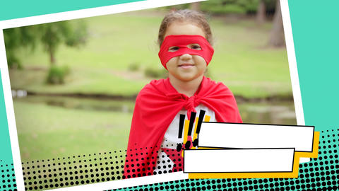 Little girl wearing a superhero costume at a park Animation