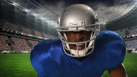 American Football player preparing for kick off Animation