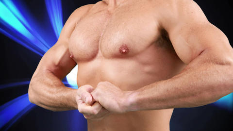 Naked man with athletic body Animation