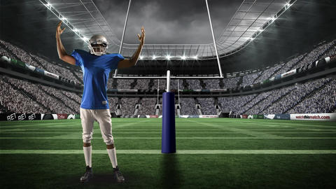 American football player standing at a field goal Animation