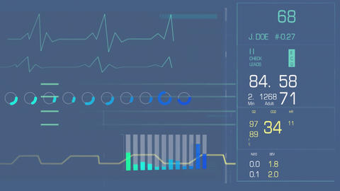 Digital interface with heart rate and bars Animation