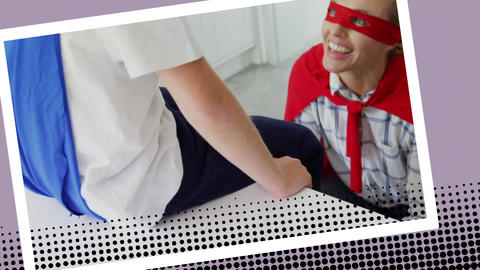 Superhero Mother tying her sons shoe laces Animation