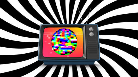 Old television with colorful static Animation