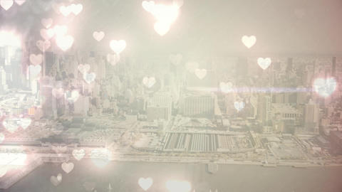 city with flying hearts Animation