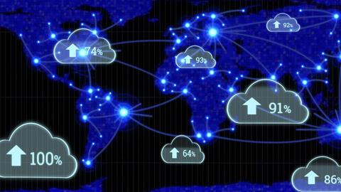 Upload progress clouds and world map Animation