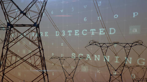 Cyber security words and power lines Animation
