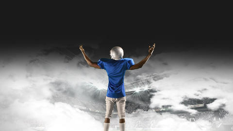 American football player on a foggy field Animation